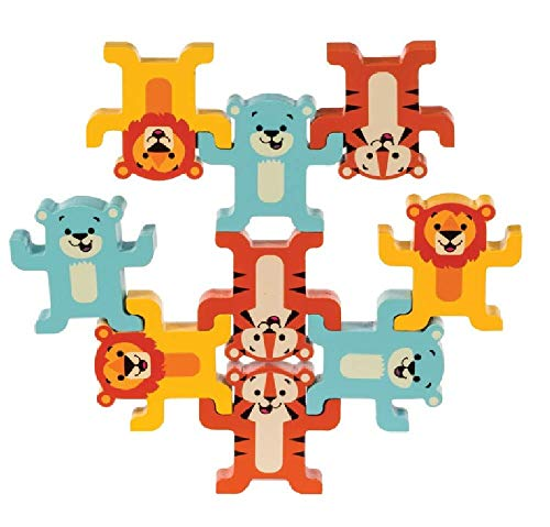 Schylling Little Classics Stack & Play Wooden Animals Toy, Yellow