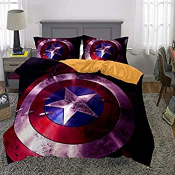 Siyarar Marvel Captain America Bedding Sets Twin Size for Boys Bed Set 2 Pieces  1 Duvet Cover 1 Pillowshams  T8