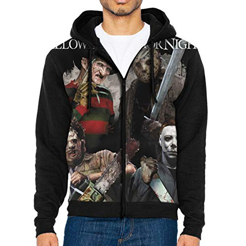 HaroldWolf The Texas Chainsaw Massacre Full-Zip Hoodie Hooded Sweatshirt Jacket Men's Jacket Sweatshirts Hoodies with Pockets Black