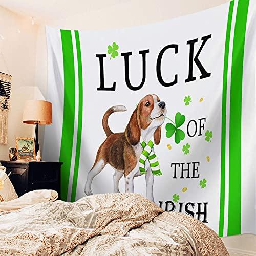 Tapiz decorativo para el día de San Patricio, tapiz para colgar en la pared para dormitorio, dormitorio, sala de estar, comedor, animales, perros, Long of Luck, tapices de pared con rayas verdes para