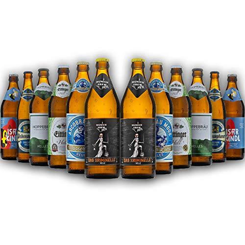 Bayrisches Helles-Geschenk-Set in Bierbox (12x0,5l Bier aus Bayern) | Ein Mix aus verschiedenen Biersorten Bayerns