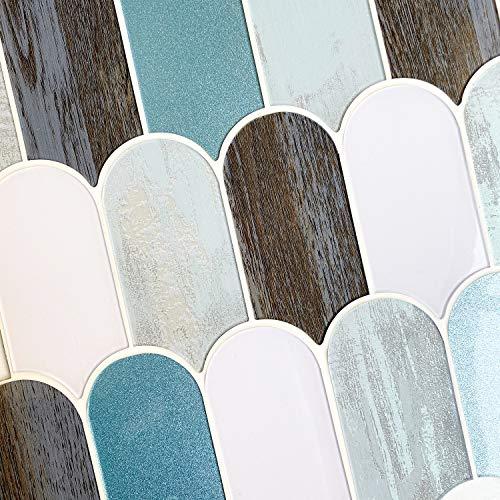 HomeyMosaic 3D-Wandfliesen aus Kieselgel für Heimdekoration, zum Aufkleben auf Küche, Badezimmer, 5 Blatt, 27,9 x 25,4 cm, Fischschuppen-Blau