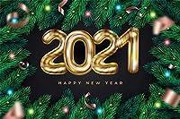 NEW10x7ftハッピーニューイヤー2021メリークリスマスの背景ゴールドハッピーニューイヤー2021クリスマスツリーのゴールデンクリスマスボールの背景祭祝賀パーティーの背景写真の背景