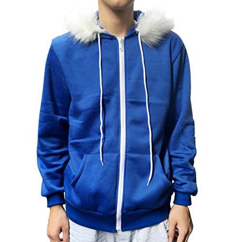 Men Women Sans Cosplay Blue Jacket Plush Hooded Coat Sans Costume Hoodie Jacket Coat Cos Jacket Sweatshirts (L2, Blue)