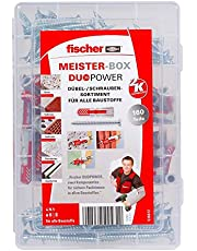 Fischer MEISTER-BOX DUOPOWER + schroef, gereedschapskist met 160 pluggen en schroeven, universele pluggen, praktische set, plugkist voor doe-het-zelvers en professionals
