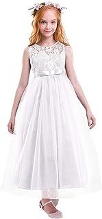 50925be962c93 OBEEII Fille Robe Floral Dentelle Sans Manches Robe Formelle Princesse  Tulle Longue Habiller pour Première Communion
