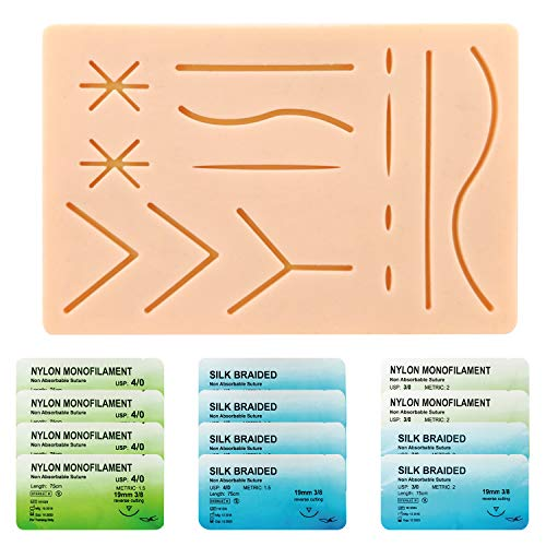 Suture Refill Kit for Medical and Vet Students, Portable Silicone Stitching Pad with Pre-Cut Wounds & Various Suture Threads and Needles, Ideal Practice Suture Training Kit (Education Use Only)