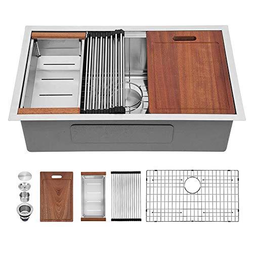 30 Inch Kitchen Sink Undermount - Sarlai 30x18 Stainless Steel Kitchen Sink Undermount Deep Single Bowl 16 Gauge Ledge Workstation Sink Basin