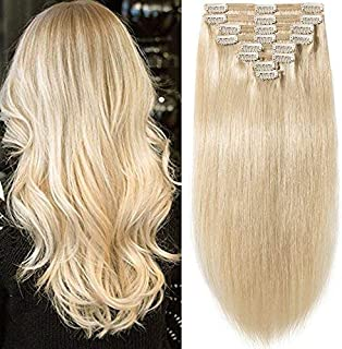 """20\ =150g , #60 Platinum Blonde : s-noilite 10""""-22"""" Thick Double Weft 130-160g Grade 7A 100% Clip in Remy Human Hair Extensions Full Head 8 Piece (20""""-150g #60 Platinum Blonde)"""