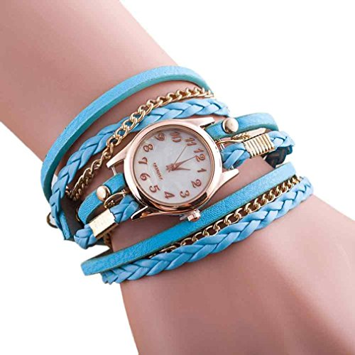 New Fashion Armbanduhr Charme Leder Armband mingfa. Y Wrap Kette Armreif Uhren für Frauen, himmelblau, Band Length:39CM