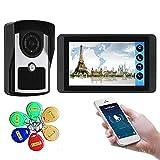 Wifi Video Doorbell, Video Door Phone Security Surveillance Kit, Intercom, Night Vision Camera + 7 Inch Display, Monitor Card APP Unlock