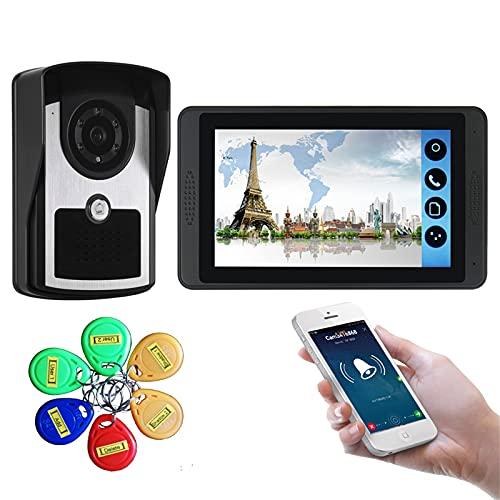 Timbre con video wifi, kit de vigilancia de seguridad con videoportero, intercomunicador, cámara de visión nocturna + pantalla de 7 pulgadas, desbloqueo de la APP de la tarjeta del monitor