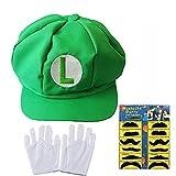 Teens Mario and Luigi Bros Hats with Mustache & Glove Halloween Party Cosplay Costume Set (Green)