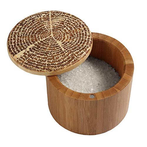 Totally Bamboo Salt Box, Bamboo Storage Box with Magnetic Swivel Lid,'Tree of Life' Art Engraved on Lid