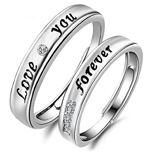 Lfhing 1 par de alianzas de boda, anillo de compromiso, juego de 2 unidades, con letra de circonita, plata de ley para mujeres y hombres