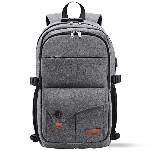 Lekesky Anti-Theft 15.6 Inch Laptop BackpackTravel Rucksack with USB Charging Port for Secondary/College/Women/Men- Grey