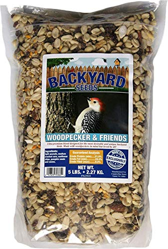 Backyard Seeds Woodpecker Shelled Peanuts Mixed Bird Seed with Sunflower Chips, Pumpkins, Raisins (5 Pounds)