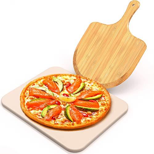 iBesi Pizzastein für Ofen und Grill, Backstein für beste knusprige Krustenpizza, kostenloses Bambus-Pizzaschalenpaddel, langlebiger und sicherer Pizzastein für Grill, thermoschockbeständiger Kochstein