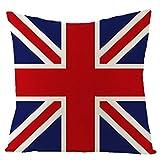AtHomeShop 45 x 45 cm, fundas de cojín decorativas en lino con estampado de la bandera del Reino Unido, suave, cuadradas, para sofá, dormitorio, oficina, sin relleno, color rojo y azul, estilo 03