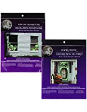 Bundle: 1 Door Cover and 2 Window Covers Scary Haunted House Set of Halloween Decorations