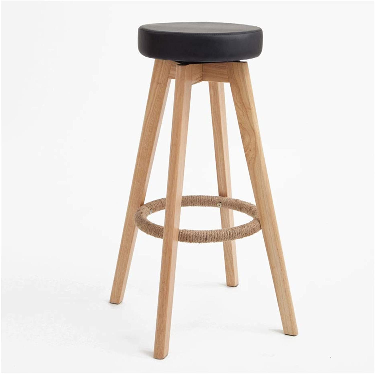 A+ Home Simple Bar Stool, Solid Wood High Resilience Sponge Filled Bar Stool, Natural Wood Grain High Chair, 5 colors,PU Leather Easy to Clean-48cm74cm (color   Black)