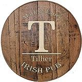 Family Name Monogram Custom Bar Sign for Rustic Home Decor Authentic Whiskey Barrel Wall Art
