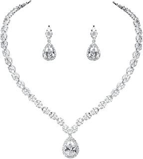 WeimanJewelry Silver/Gold Plated Women Cubic Zirconia CZ Marquise Teardrop Bridal Tennis Necklace and Drop Earring Set for Wedding Brides