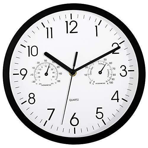Foxtop Reloj de Pared con Termómetro e Higrómetro, Mide Temperatura y Humedad, Funciona con Pilas (en Blanco y Negro, 25 cm)