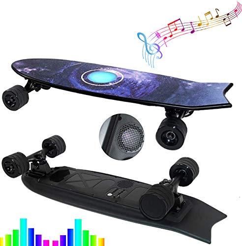 FGKING Elektro-Skateboard, Elektrolongboard, Remote-Longboard, Max 25 KM/H, sanftes Bremsen und Beschleunigung mit Wireless Fernbedienung, gebaut LED-Leuchten und Bluetooth Audio