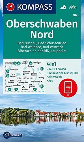 KOMPASS Wanderkarte Oberschwaben Nord: 4in1 Wanderkarte 1:50000 mit Aktiv Guide und Detailkarten inklusive Karte zur offline Verwendung in der ... (KOMPASS-Wanderkarten, Band 782)