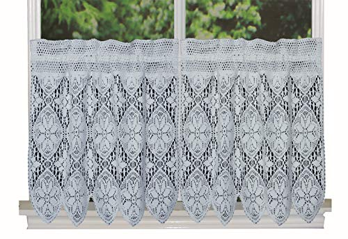 """Creative Linens Knitted Crochet Lace Kitchen Curtain 22"""" L Tiers White, 100% Cotton"""