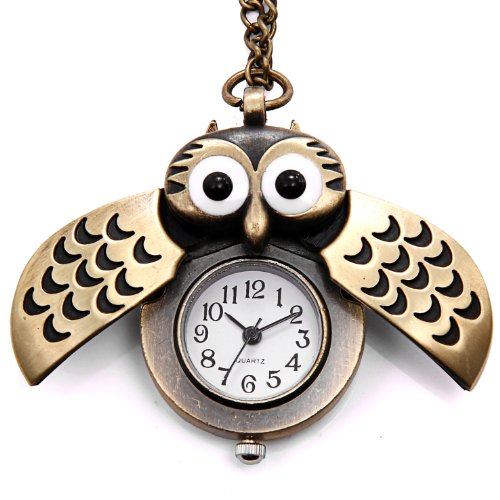 JewelryWe Vintage Retro Owl Bronze Steampunk Locket Pocket Watch Pendant Long Chain 31.5 Inch