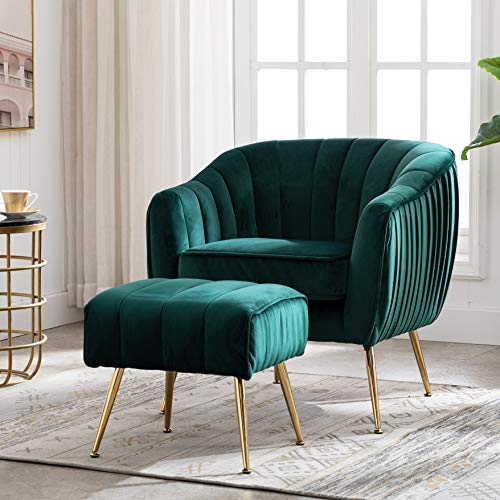 Artechworks Velvet Modern Tub Barrel Arm Chair Upholstered Tufted with Gold Metal Legs Accent Club Chair with Ottoman Footrest for Living Reading Room Bedroom, Green
