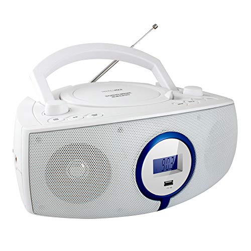 HANNLOMAX HX-316CD CD/MP3 Boombox, AM/FM Radio, Digital Radio Frequency Display, Bluetooth, USB Port for MP3 Playback, LCD Display, Aux-in, AC/DC Power Source (White)