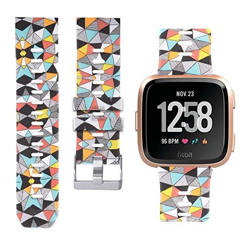 Allbingo Fitbit Versa Cute Bands,Women Men Replacement Strap Wristband for Fitbit Versa Smart Watch (Colorful Geometric, Small)