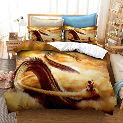 MXSS Dragon Ball Bedding, Children's Boy Girl Bedding Set, Duvet Cover + Pillow Case, Microfibre 3D Goku Dragon Digital Printing Single Double King Bed (Dragon Ball 1,Single)