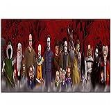 IUYBHRYI Freddy vs Jason Scream Alien película de Terror Pintura al óleo póster Impresiones Lienzo Cuadro de Pared para la decoración de la habitación del hogar-60x120cm sin Marco