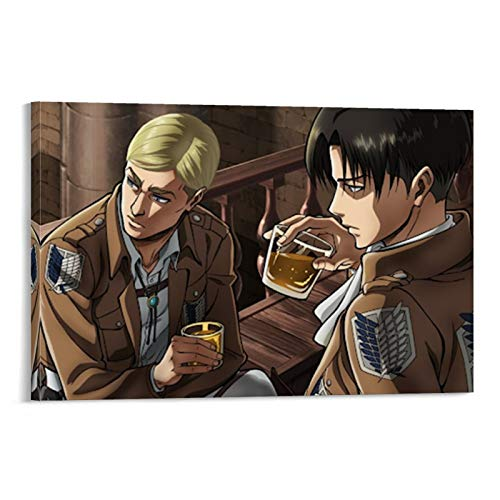 Póster de anime de Attack on Titan Erwin and Levi para habitación, lienzo decorativo para pared, para sala de estar, dormitorio, 60 x 90 cm