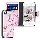 kwmobile Hülle kompatibel mit Apple iPhone 4 / 4S - Kunstleder Flip Case mit herausnehmbarer Innenhülle Magnolien Rosa Weiß Altrosa