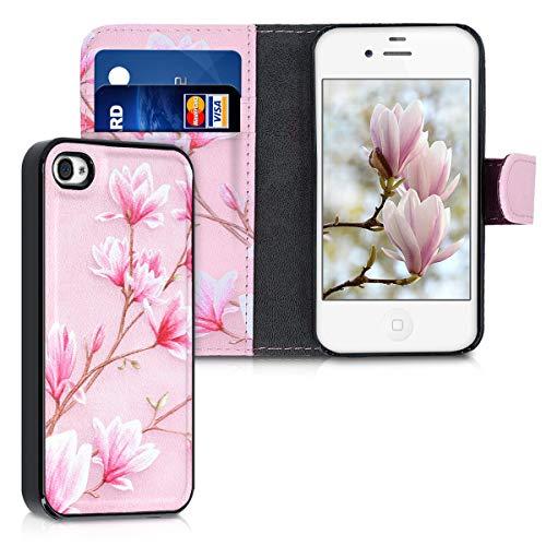 kwmobile Apple iPhone 4 / 4S Hülle - Kunstleder Flip Case für Apple iPhone 4 / 4S mit herausnehmbarer Innenhülle - Magnolien Design Rosa Weiß Altrosa