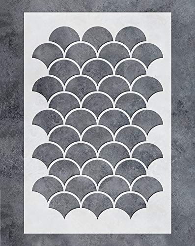 GSS Designs Wall Stencil - Large Fishscale Stencil (16x24 Inch) for Painting on Wall Furniture Floor Fabric Stencils - Reusable Moroccan Template for Wall Decals & Wallpaper & Wall Decor (SL-076)