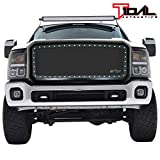 Tidal Front Rivet Matte Black Stainless Steel Wire Mesh Grill With Shell Fit for 2011-2016 Ford Super Duty F250/F350/F450/F550