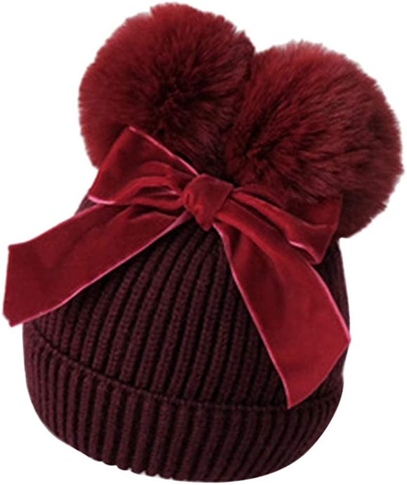DuAnyozu Toddler Kids Baby Girl Winter Pom Pom Hats Cute Knit Hats Cotton Lined Beanie Hat Snow Cap for 1-4 Year