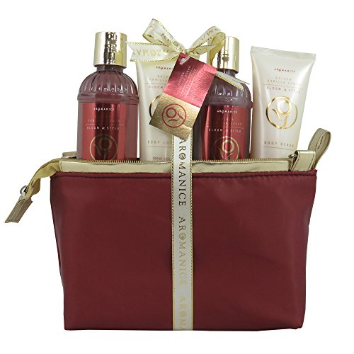 Coffret cadeau beauté pour femme - Trousse de bain rouge/dorée - Collection Aromanice - Cidre de cèdre