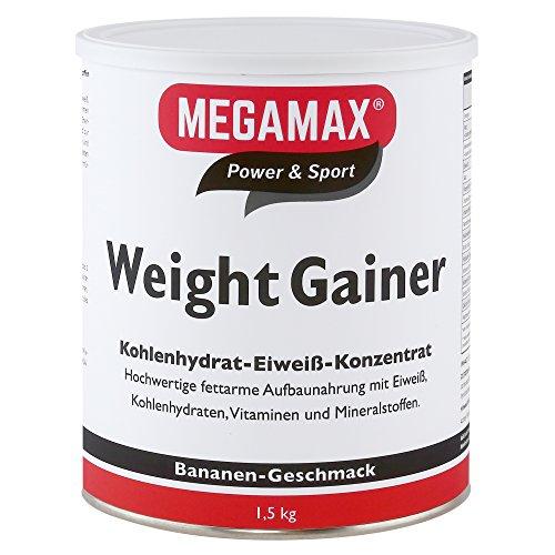 Megamax Weight Gainer Banane 1,5 kg 0,5% Fett | Vitamine, hochwertige Kohlenhydrate & Proteine ideal für HardGainer u. Untergewicht | Aufbaunahrung für Massephase, Masseaufbau & Zunehmen