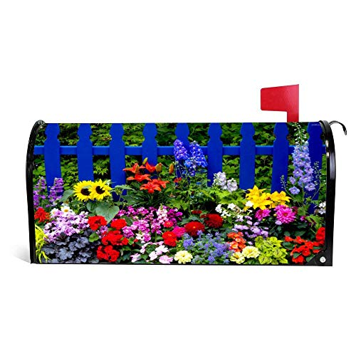 Multicolored Summer Flowers Funny Magnetic Mailbox Cover Wraps Post Box Canvas Garden Yard Home Decor for Outside -25.5x20.8 inch