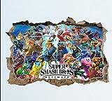 QAW Pegatinas de pared Super Smash Bros Ultimate Wall Smash Decal Sticker 3D Dormitorio Vinilo Mural Arte