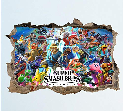 QAW Pegatinas de pared Super Smash Bros Ultimate Wall Smash Decal Sticker 3D Dormitorio Vinilo Mural Arte