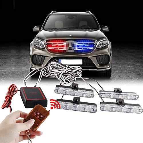 Sidaqi 4x4led 4 en 1 remoto inalámbrico 12 V luz de advertencia estroboscópica parpadeante bomberos luces coche camión Luz LED DRL ambulancia la policía de luz