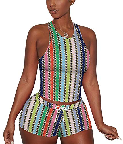 2 Piece Short Set for Womenn - Two Pc Outfits Tracksuits Biker Jogging Suits Sets Crop Tank Top + Skinny Booty Shorts Rainbow Stripe Medium